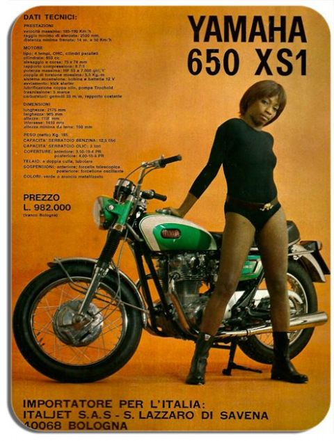 Vintage XS650  XS1 Italian Brochure Motorbike Mouse Mat. Motorcycle Mouse pad